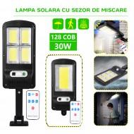 Lampa Solara cu LED, 30W, 128 COB, telecomanda inclusa