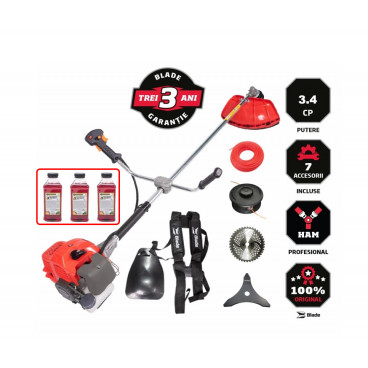 Oferta Motocoasa de Umar pe Benzina BLADE Alpin 52cc, 3.4CP, 3200rpm 7 Accesorii si Ulei Amestec