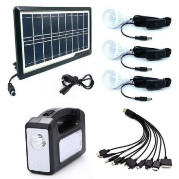 Kit incarcare solara, 3 becuri, incarcator priza si cablu cu 10 mufe