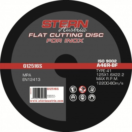Image of Disc abraziv Stern Austria G12516S pentru polizor unghiular - 125x1,6mm