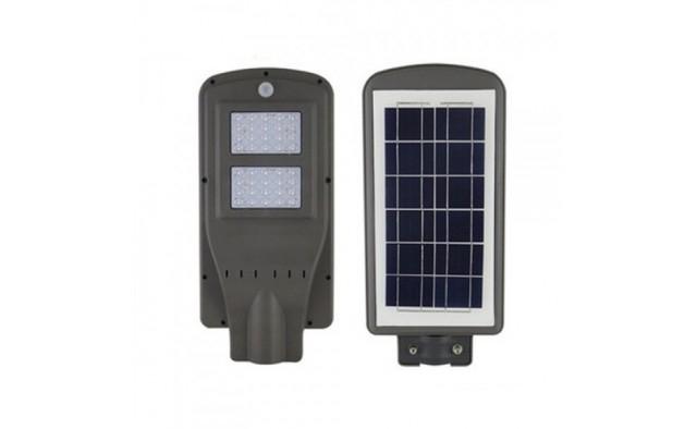 Image of Lampa stradala 2x Cobled, cu senzor, panou solar, telecomanda si suport 100 W