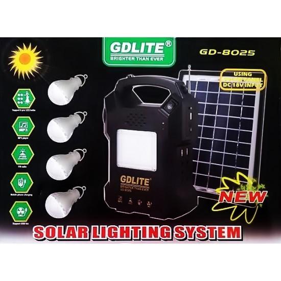 Image of Kit iluminat cu panou solar pentru reincarcare cu lanterna, RadioFM, MP3 GDLite GD-8025